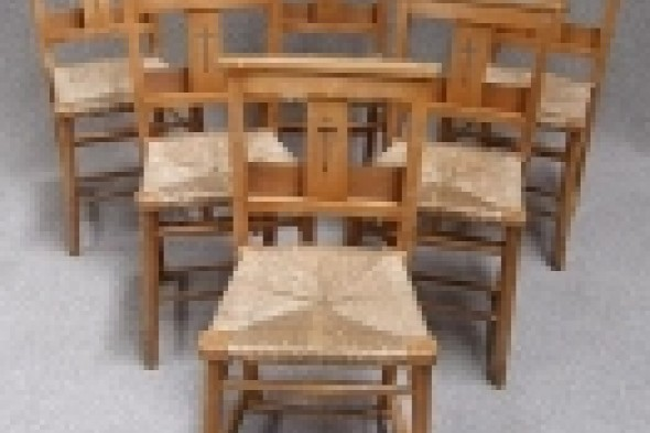 Six Vintage Chapel Chairs