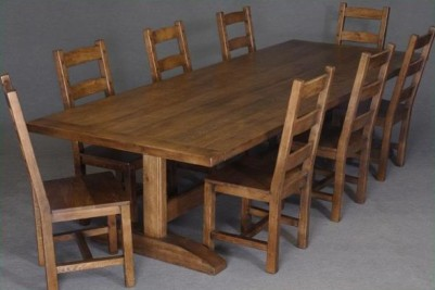 solid oak 10 foot kitchen dining trestle table with chairs