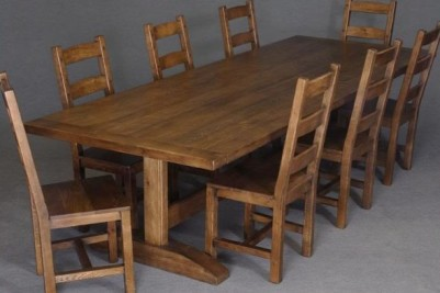 trestle dining table with chairs