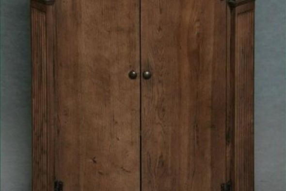 Disc - Solid oak Corner Cupboard - New Colour Bow Front