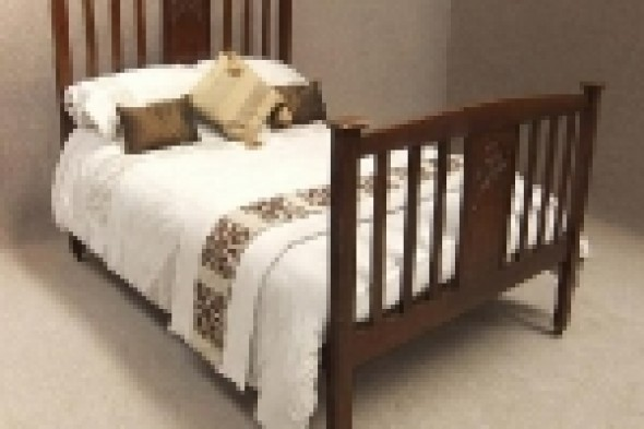 Solid Oak English Arts and Crafts Double Bed