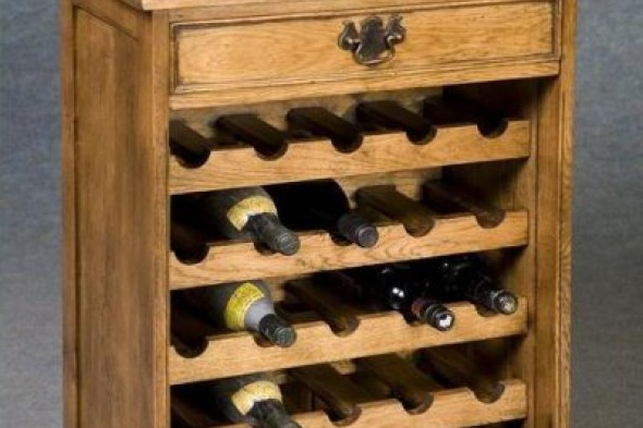 Disc - Solid Oak Wine Rack With Drawer