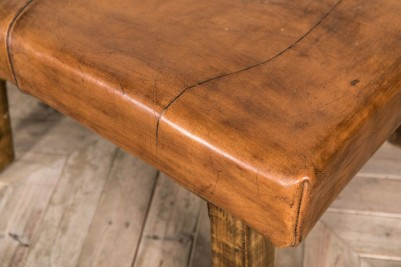 vintage leather coffee table