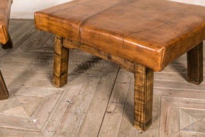 vintage leather top table