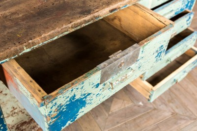 industrial blue sideboard