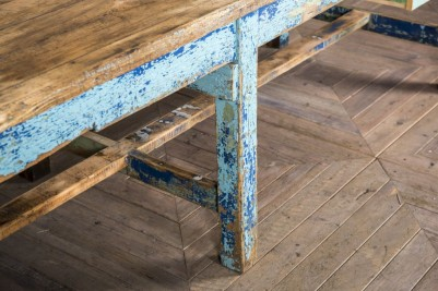 blue factory table