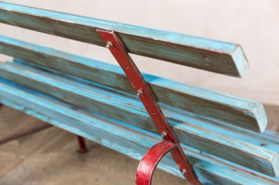 vintage blue railway bench