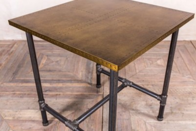 pipework table with brass top