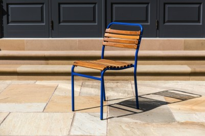 slatted blue chair