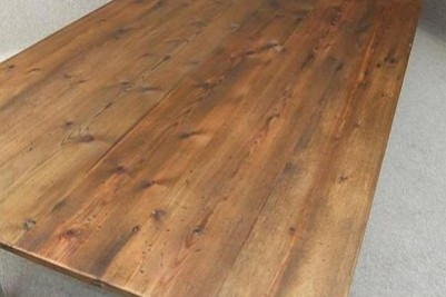 large French farmhouse pine kitchen table painted base