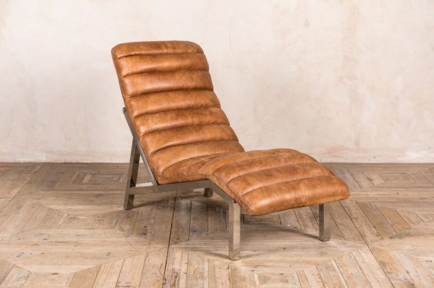 Tan Leather Chaise Longue