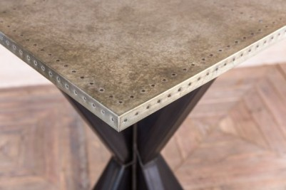 metal pedestal poseur table with zinc top