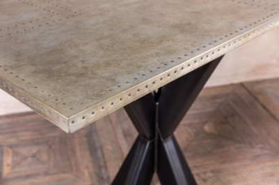 metal pedestal table with large zinc top