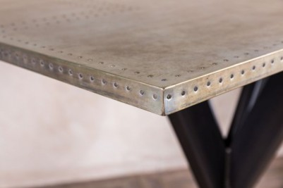 tank trap table with large zinc top