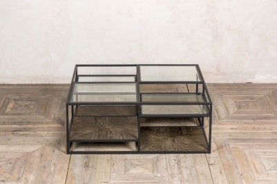 large tiered glass coffee table
