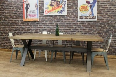 industrial steel table with x frame