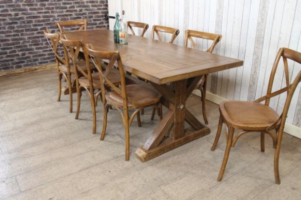 Clifton Handmade Pine Trestle Dining Table