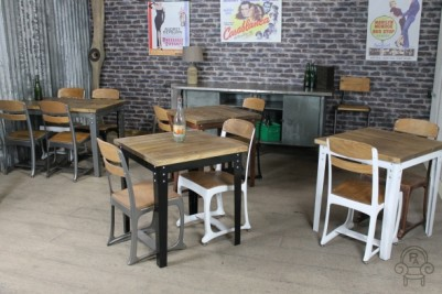 industrial inspired restaurant cafe tables
