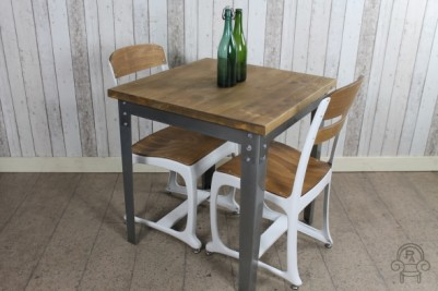 metal and pine tables