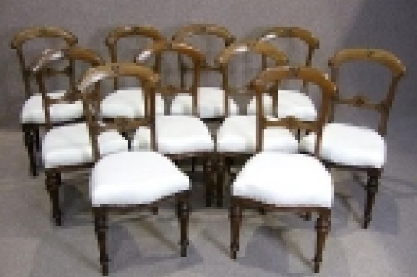 Ten Victorian Oak Dining Chairs