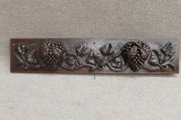 Victorian Carved Panel of Vine Leaves and Grapes