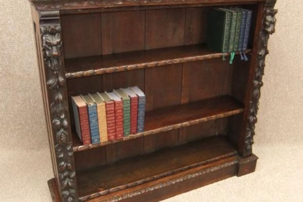 Victorian Bookcase in Oak Jacobean Style