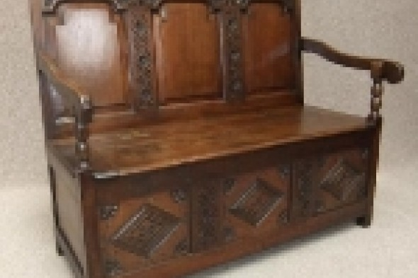 Victorian Oak Box Settle / Pew / Bench