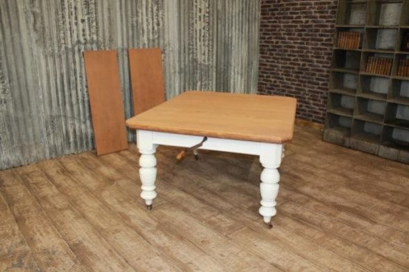 Extending Victorian Table in Pine Large Farmhouse Table Painted Base