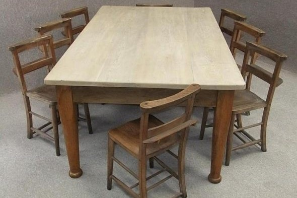 Victorian Pine Table Scrub Top and Eight Chapel Chairs
