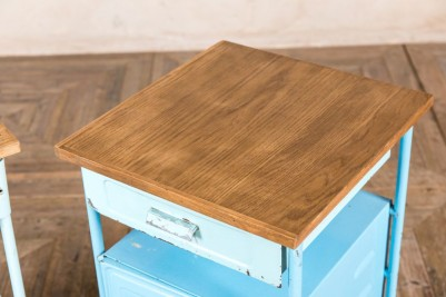 blue bedside cabinet with pine top