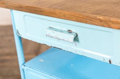 blue metal bedside table with pull out drawer