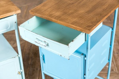 blue pull out drawer bedside cabinet