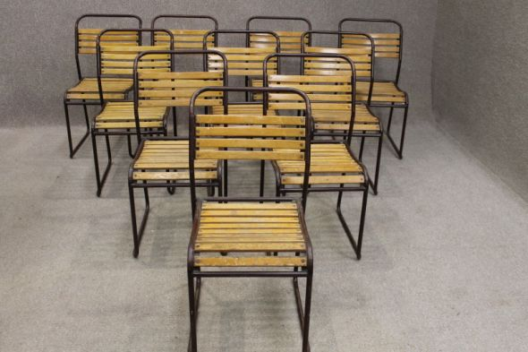 Ealing Cox slatted stacking chairs