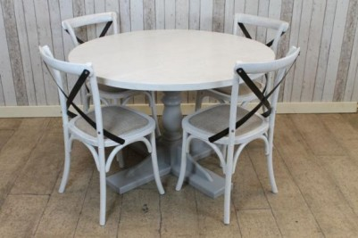 whitewashed restaurant table