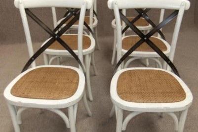 set of white chairs