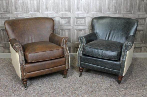 Disc - Winchester armchair Light Brown/Brown