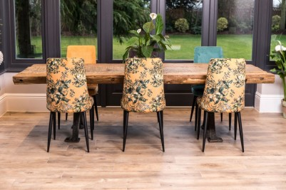 backs of floral yellow yasmin chairs