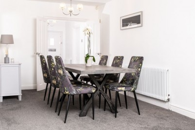 grey floral velvet dining chairs