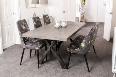 industrial style table and floral flowers