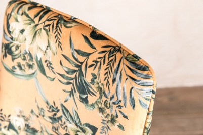 floral yellow patterned velvet chair