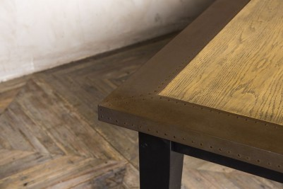 copper edge table with tapered leg