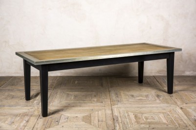 zinc and copper edge dining table with wooden base