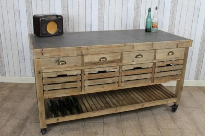 large zinc top kitchen island with storage