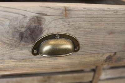 reclaimed pine and zinc kitchen storage island