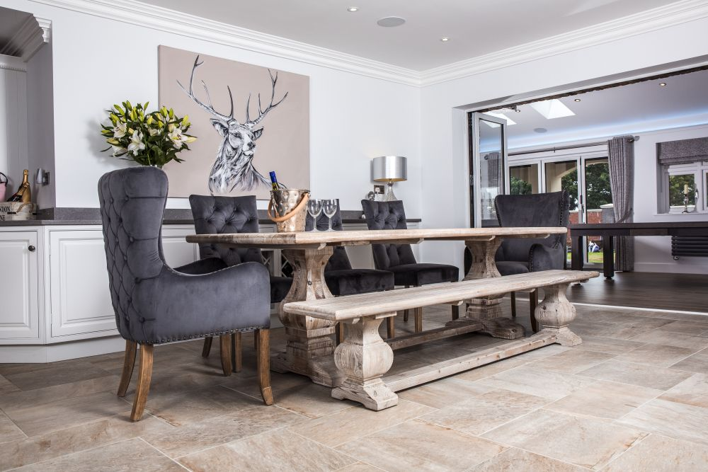 One Option For A Dining Room That Oozes Character Is The Limed Elm Table And Matching Bench Weve Styled Them With Our Grey Velvet Brittany