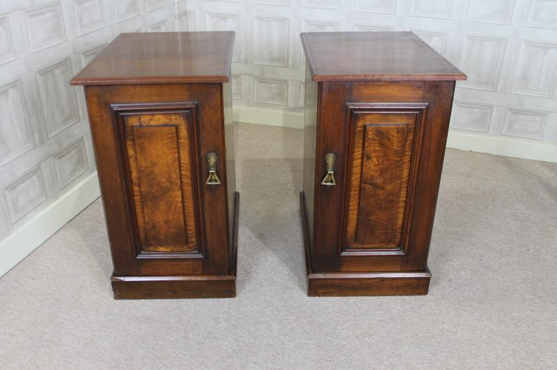 - ANTIQUE BEDSIDE CABINETS PAIR OF WALNUT VICTORIAN ANTIQUE CABINETS