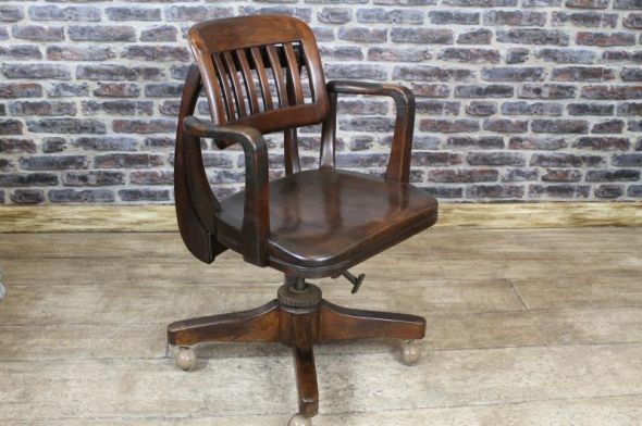 Reclining Swivel Office Chair 1920s Antique Oak Desk