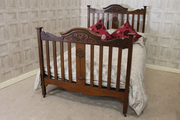 Victorian walnut double bed