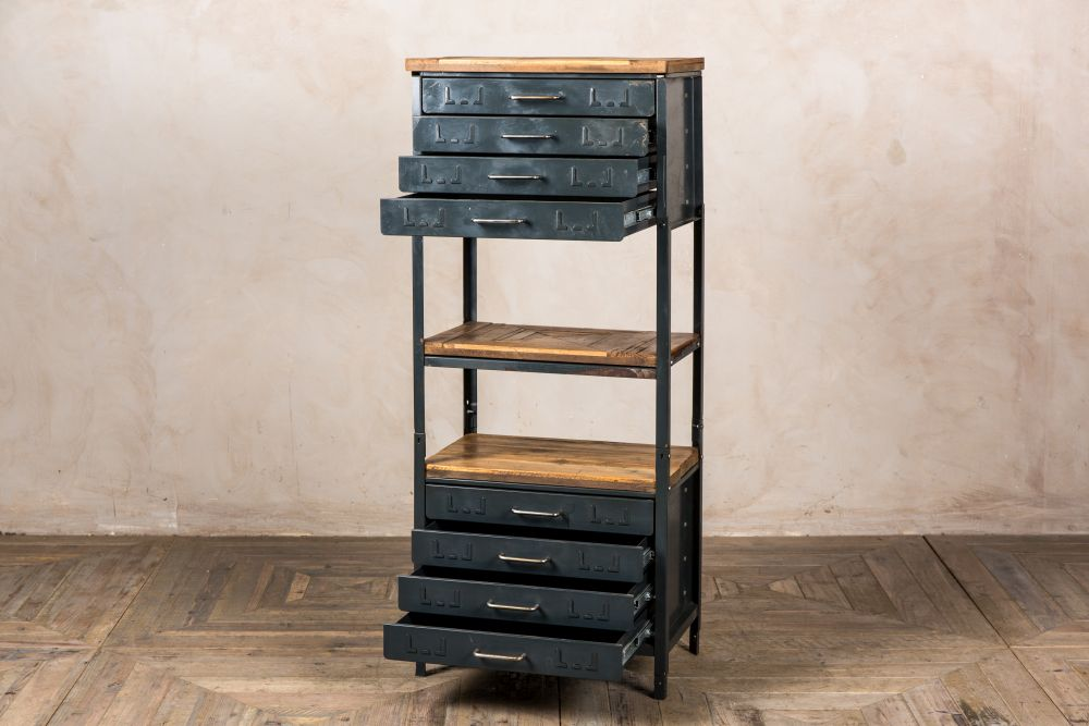 small industrial style shelving unit