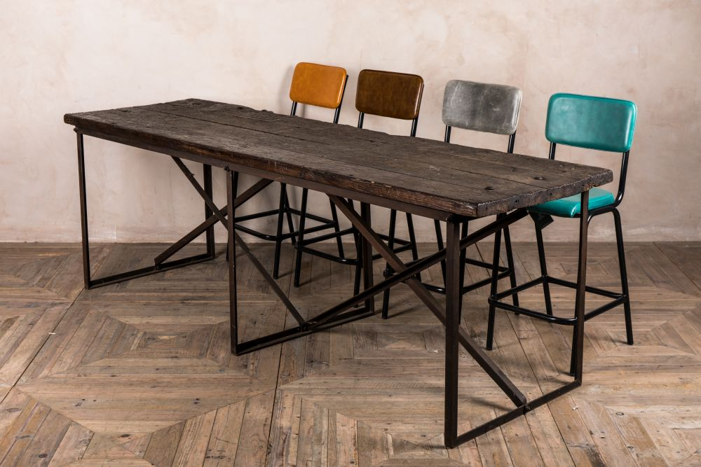 wooden vintage industrial style table